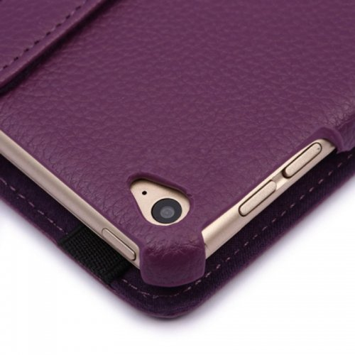 360 degree Rotating PU Leather Flip Stand Case Cover Skin for iPad Air 2(iPad 6) - Purple