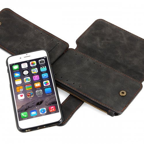 2-in-1 Genuine Leather Wallet Purse Flip Case Cover for iPhone 6 - Black