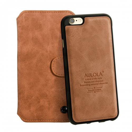 2-in-1 Genuine Leather Wallet Purse Flip Case Cover for iPhone 6 - Brown