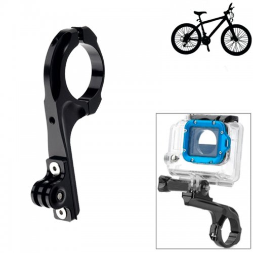 Bike Aluminum Handle Bar Adapter Pro Mount for GoPro Hero 4/3+/3/2/1 - Black