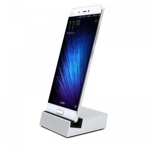 USB 3.1 USB to Type-C Dock Charger Charging Desktop Cradle Station for Mobile Phones - Silver