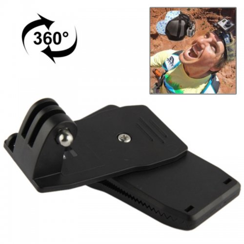 360 Degree Rotating Backpack Hat Clip Clamp Mount for GoPro HERO 4/3+/3/2/1 - Black