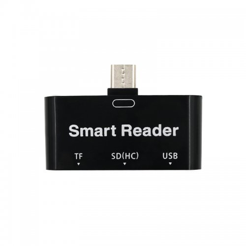 3 in 1 USB Type-C Smart Card Reader OTG for Smartphone/Tablet/Computer - Black