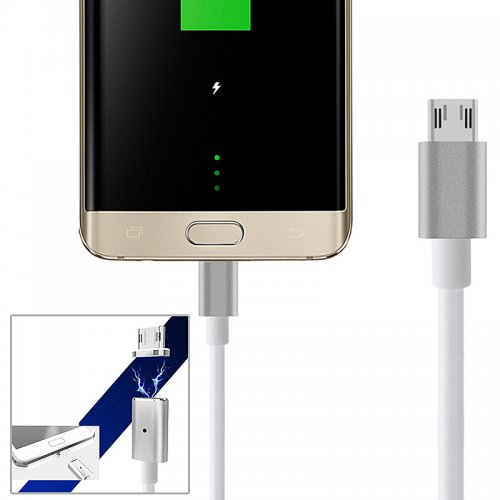 2.4A Micro USB Charging Cable Magnetic Adapter Charger for Android Samsung / LG - Silver
