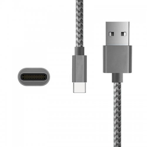 Nylon Braided 2M Type C USB 3.1 Adapter Male Sync Data Charging Cable for Macbook Letv - Grey