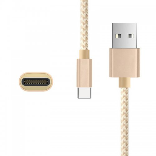 Nylon Braided 2M Type C USB 3.1 Adapter Male Sync Data Charging Cable for Macbook Letv - Golden