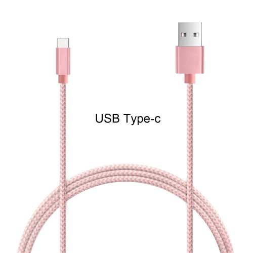Nylon Braided 1.5M Type C USB 3.1 Adapter Male Sync Data Charging Cable for Macbook Letv - Rose Gold