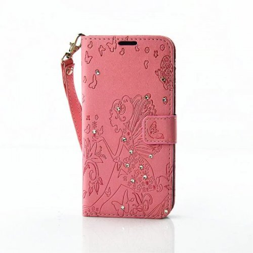 PU Leather Embossing Cystal Shinning Stand Flip Wallet Cover Case for LG G5 - Pink