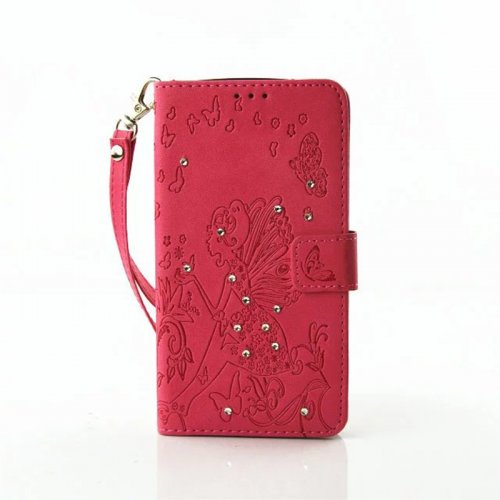 PU Leather Embossing Cystal Shinning Stand Flip Wallet Cover Case for LG K7 - Red