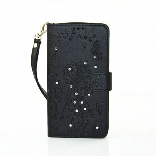 PU Leather Embossing Cystal Shinning Stand Flip Wallet Cover Case for LG K10 - Black