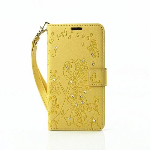 PU Leather Embossing Cystal Shinning Stand Flip Wallet Cover Case for Samsung A3 - Golden