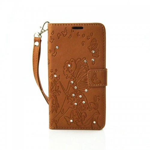 PU Leather Embossing Cystal Shinning Stand Flip Wallet Cover Case for Samsung A5 - Brown