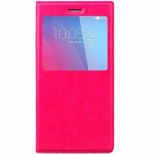 5.5-5.6 Inch Universal Silicone Smart Touch View Window Flip Stand Phone Case Cover - Rose Red