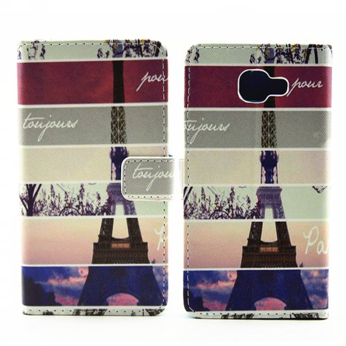 Personlized Stand Painted Wallet Flip PU Phone Case Cover Protector for Samsung A510 - Eiffel Tower