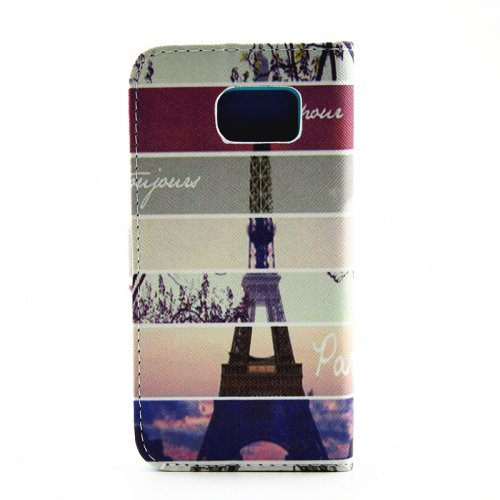 Lovely Painted Stand  Flip Wallet Card Pockets Phone Case Cover for Samsung S6 Edge Plus - Eiffel Tower