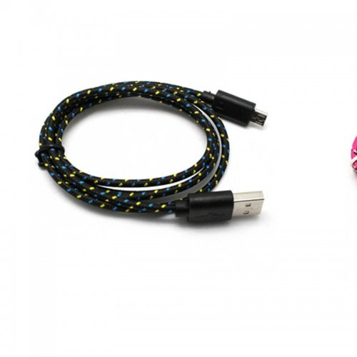 1M Length Micro USB Knitted Power & Data Cable- Black