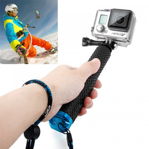 Handheld Extendable Pole Monopod Selfi Sticker with Screw for GoPro Hero 4/3+/3/2 - Blue