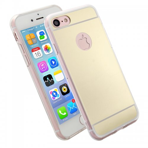 Luxury Mirror Soft Phone Cover Case for iPhone 7 - Gold