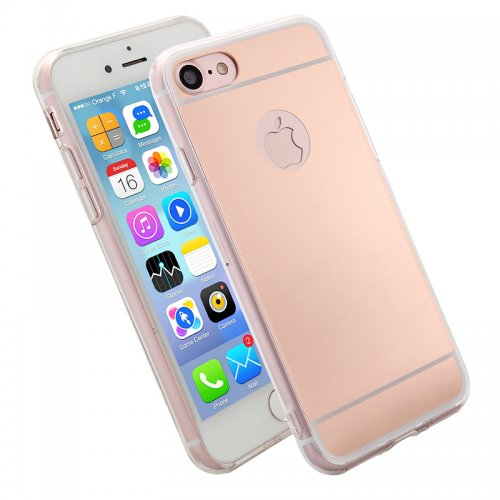 Luxury Mirror Soft Phone Cover Case for iPhone 7 - Rose Gold