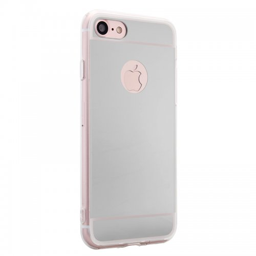 Luxury Mirror Soft Phone Cover Case for iPhone 7 - Silver