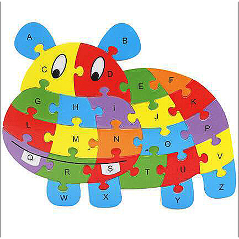 Wooden ABC Alphabet Jigsaw Puzzle Children Educational Toy - Hippo