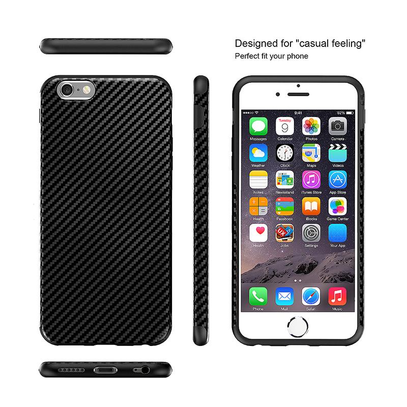 TPU Carbon Fiber Soft Phone Cover Case for iPhone 7 - Black