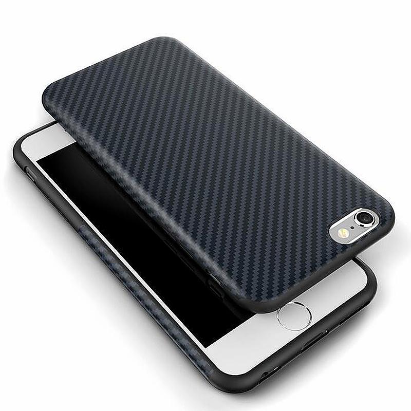 TPU Carbon Fiber Soft Phone Cover Case for iPhone 7 Plus - Dark Blue