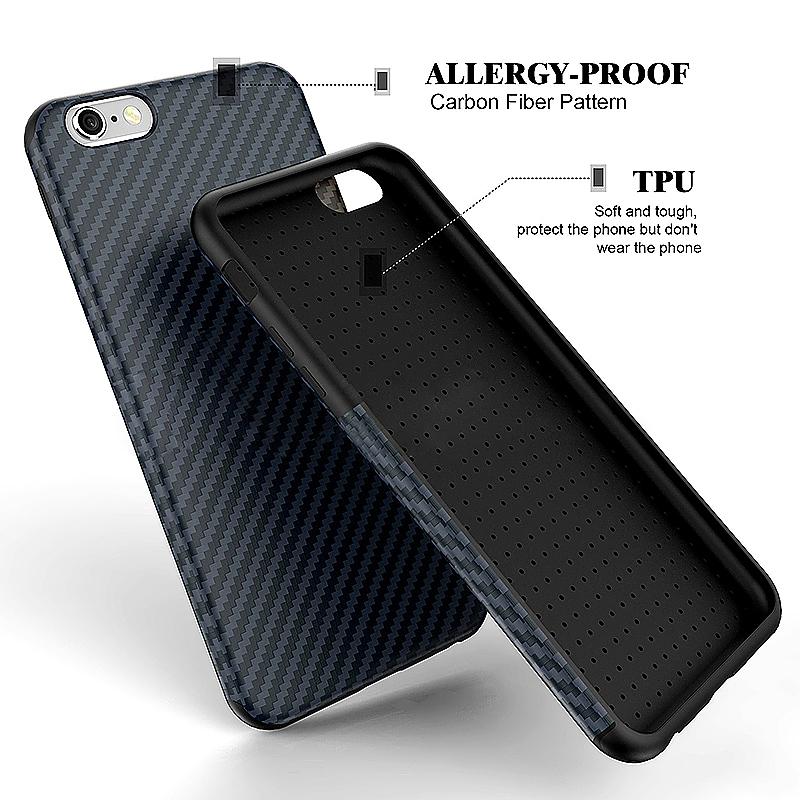 TPU Carbon Fiber Soft Phone Cover Case for iPhone 6 - Dark Blue