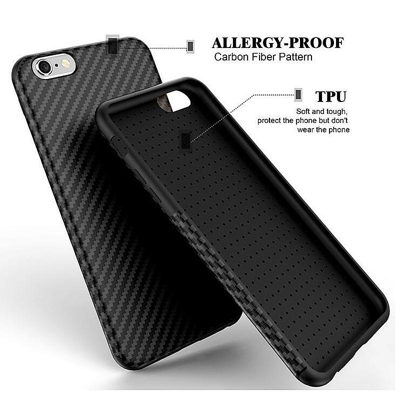 TPU Carbon Fiber Soft Phone Cover Case for iPhone 6 Plus - Black