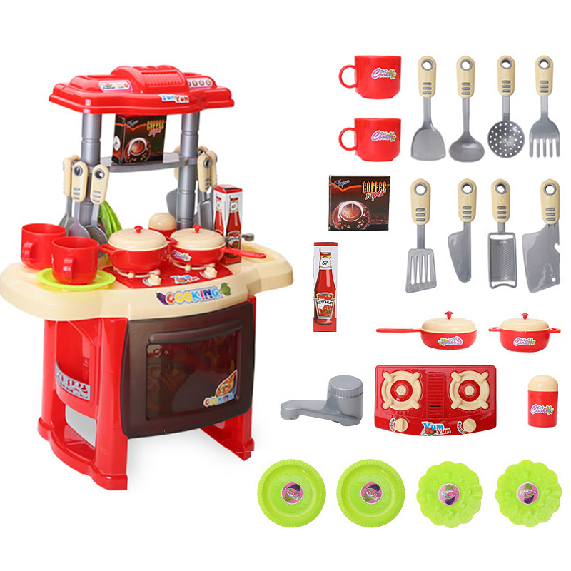 Kids Children Role Play Kitchen Cooking Set Toy - Red