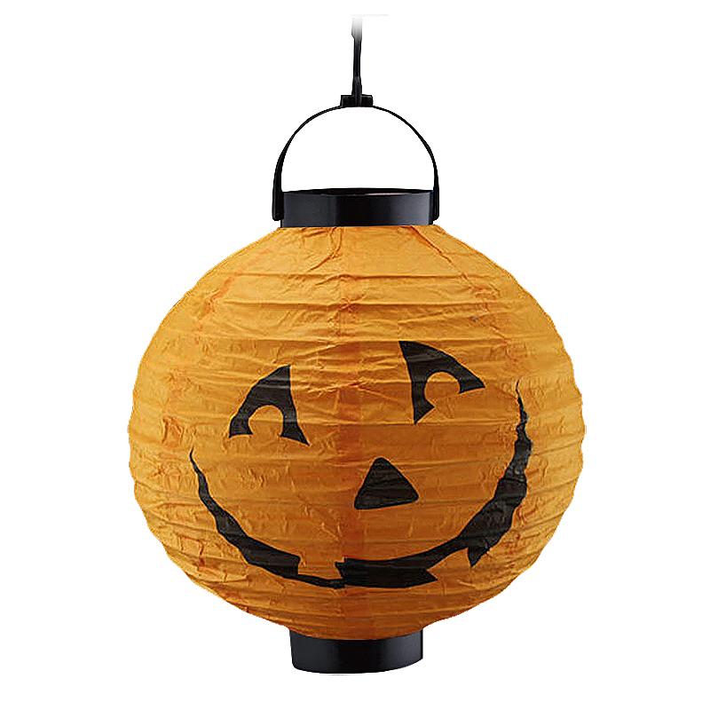 LED Light Paper Pumpkin Hanging Lantern Light Lamp Halloween Decorations  - Yellow Pumpkin