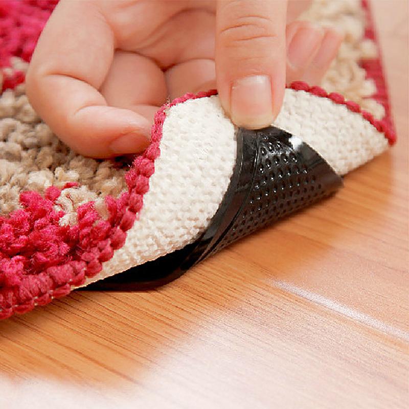4 Pack Rug Carpet Mat Grippers Non-slip Skid Reusable Washable Grips