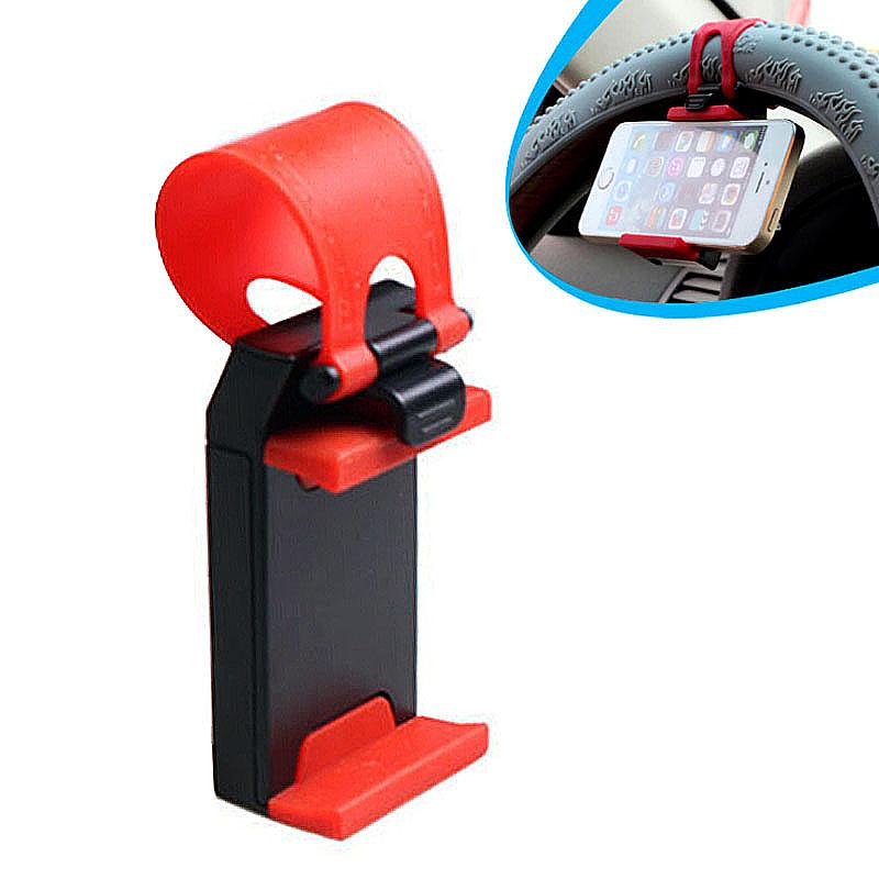 Steering Wheel Mobile Phone Handsfree Navigation in Car Holder Mount Frame - Red