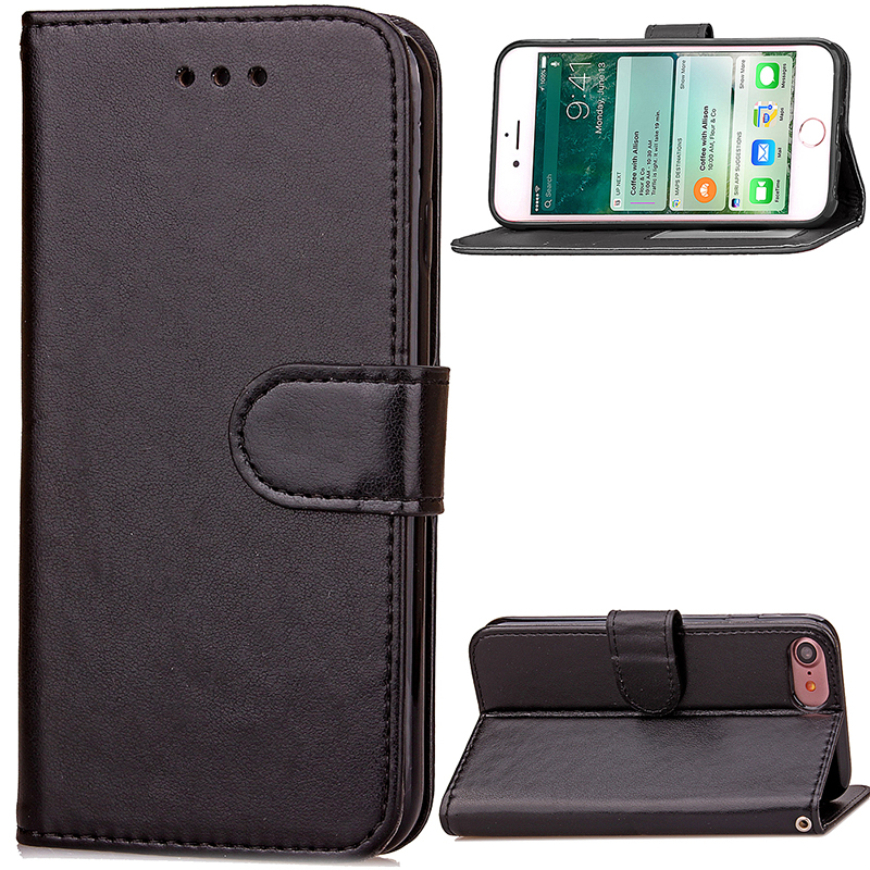 Fashion PU Leather Card Wallet Case Cover for iPhone 7 - Black