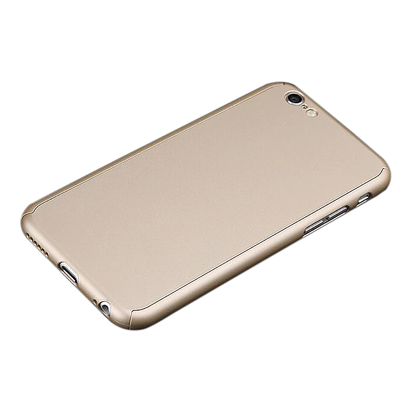 360 Full Coverage Hard Thin Case + Tempered Glass Cover For iPhone 7 - Gold