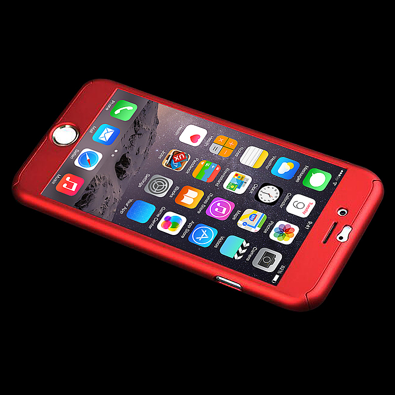 360 Full Coverage Hard Thin Case + Tempered Glass Cover For iPhone 7 - Red