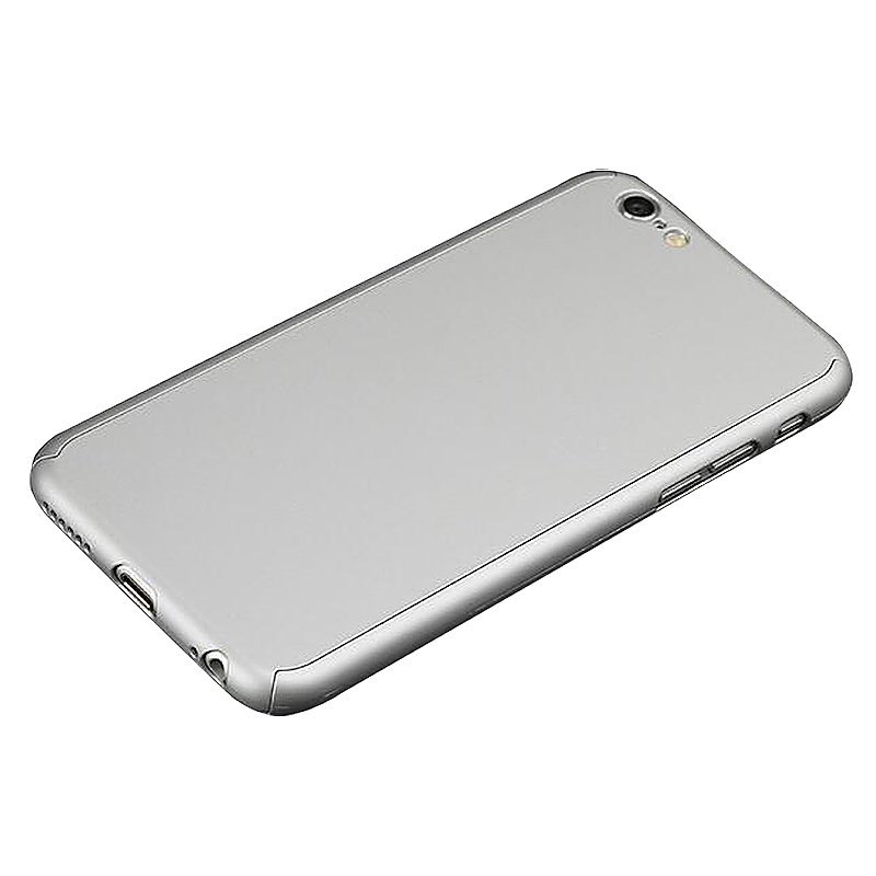 360 Full Coverage Hard Thin Case + Tempered Glass Cover For iPhone 7 Plus - Silver