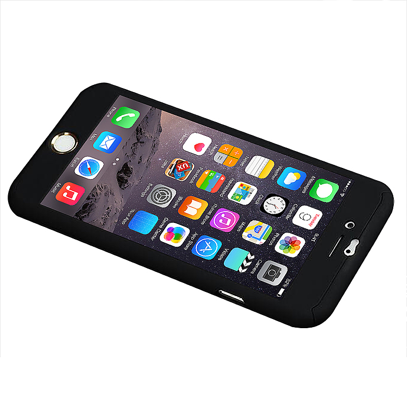 360 Full Coverage Hard Thin Case + Tempered Glass Cover For iPhone 7 Plus - Black