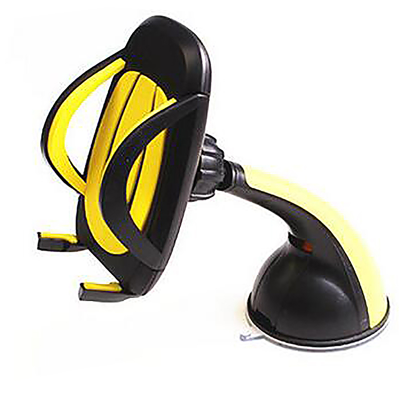 360 Degree Car Dashboard Suction U Model Phone Mount Holder Stand - Yellow