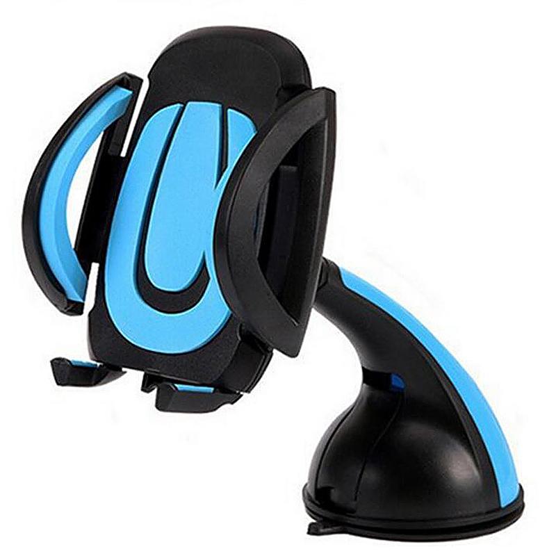 360 Degree Car Dashboard Suction U Model Phone Mount Holder Stand - Blue
