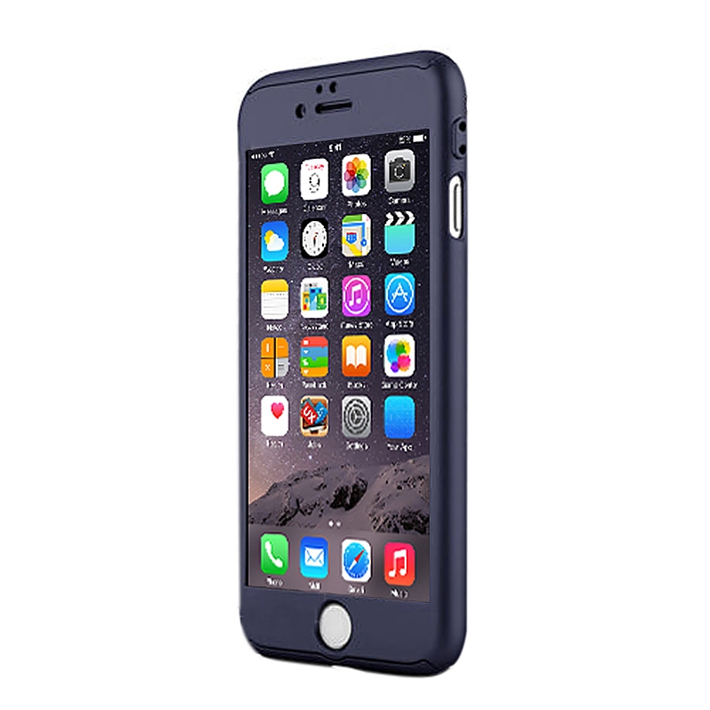 360 Full Coverage Hard Thin Case + Tempered Glass Cover for iPhone 7 - Blue