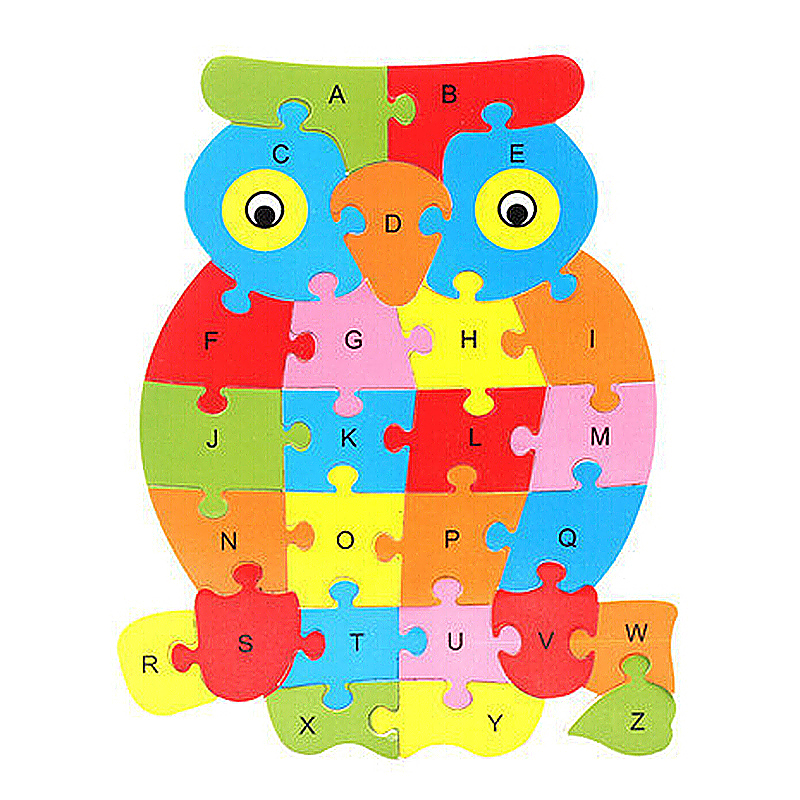 Wooden ABC Alphabet Jigsaw Puzzle Children Educational Toy - Owl