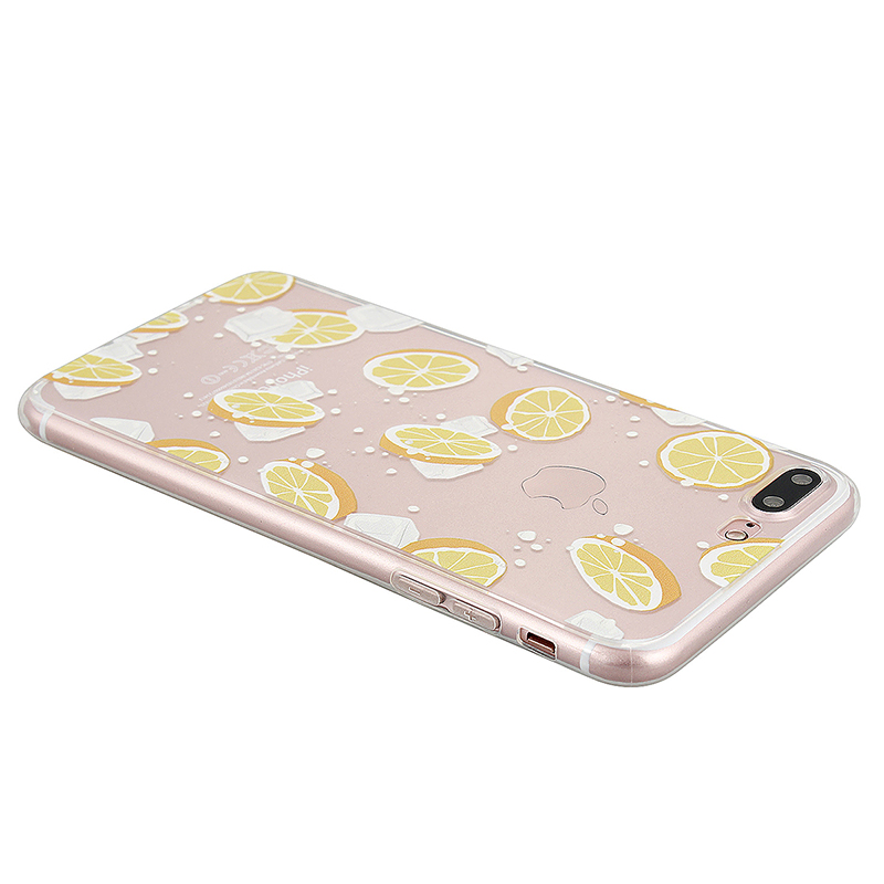 Fashion TPU Soft Protective Phone Cover Case for iPhone 7 Plus - Lemon