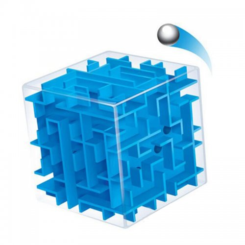 3D Labyrinth Ball Rolling Game Magic Cube Kids Toy - Blue