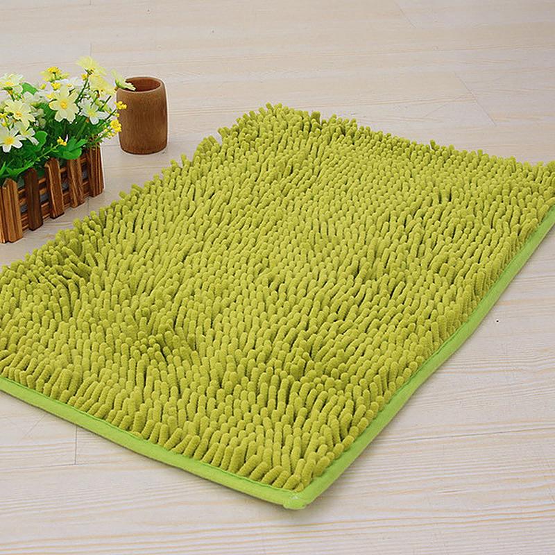 Non Slip Chenille Floor Door Mat Rug Kitchen Bathroom Carpet - Green