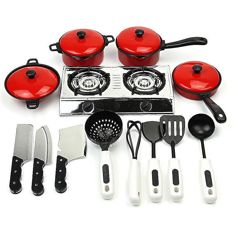 13pcs Kid Plastic Red Kitchen Utensil Accessories Cookware Set Toy