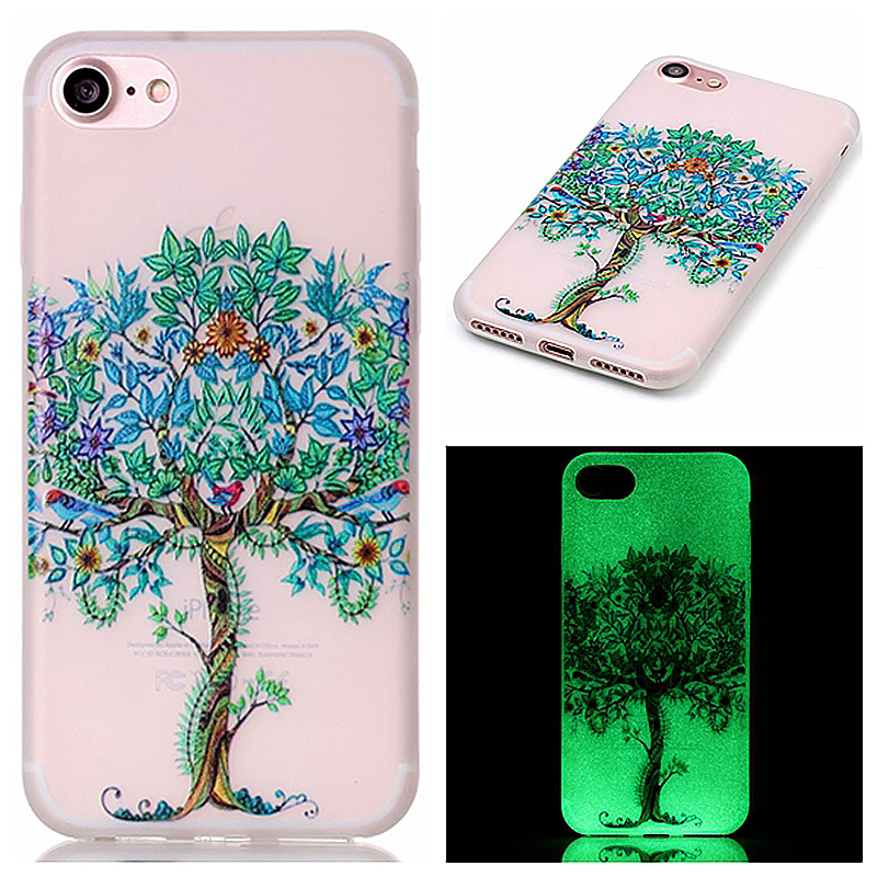 Luminous in Dark TPU Protective Phone Back Cover for iPhone 7 - Floral Tree