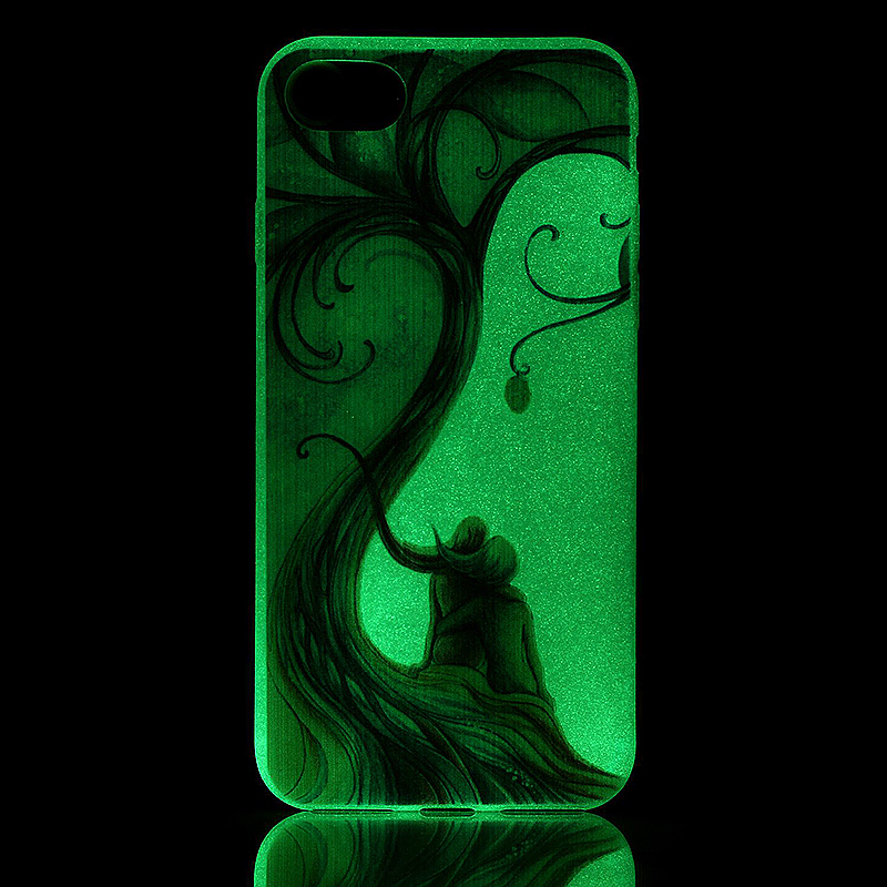 Luminous in Dark TPU Protective Phone Back Cover for iPhone 7 - Couple Tree