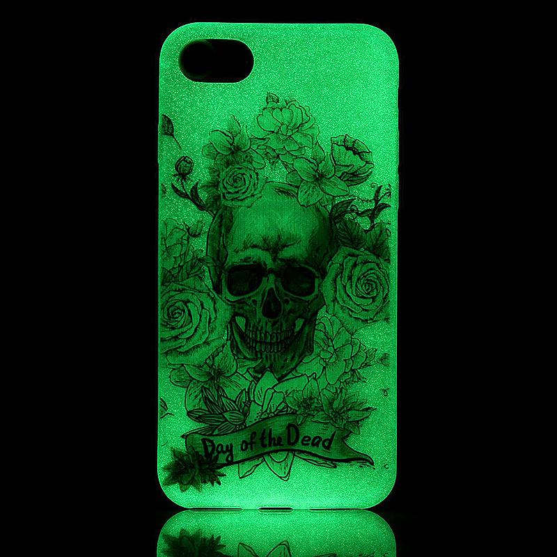 Luminous in Dark TPU Protective Phone Back Cover for iPhone 7 - Skeleton Rose