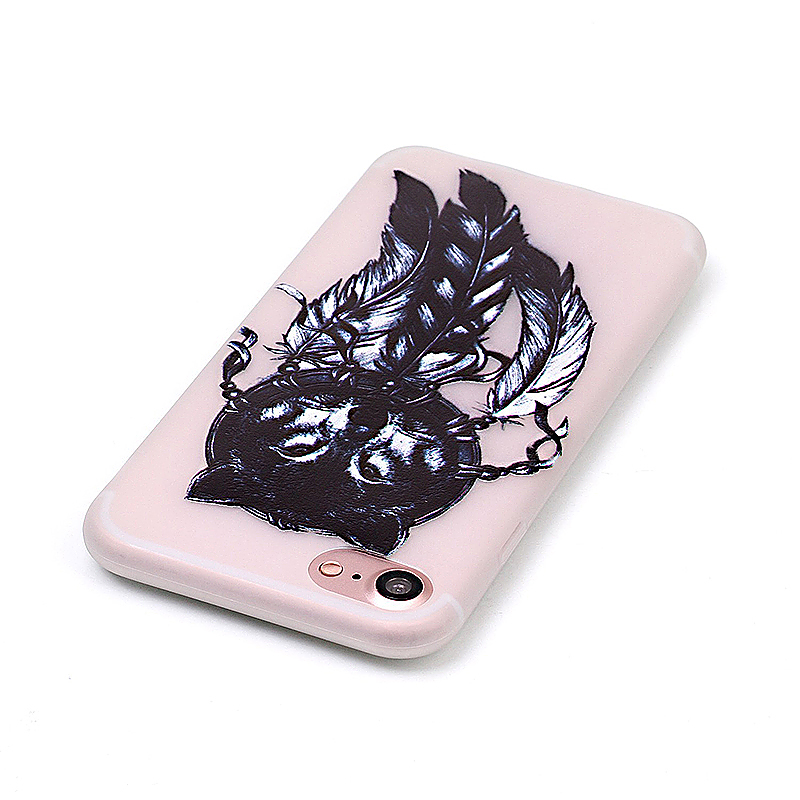 Luminous in Dark TPU Protective Phone Back Cover for iPhone 7 - Wolf Head